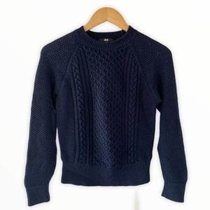Uniqlo Cable Knit Navy Blue Sweater Medium